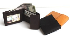 Genuine Leather Men Flap Top ID Card Hideaway Zip Strap Safe Bifold Wall... - $12.71