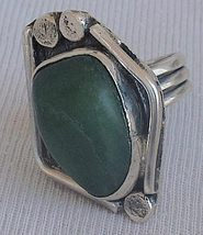 Green glass hand made ring HMG 10 - $38.00
