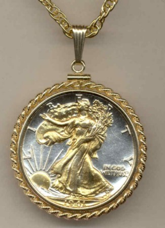U.S.Walking Liberty half (minted 1916 - 1947) coin pendant & 14k necklace