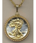 U.S.Walking Liberty half (minted 1916 - 1947) coin pendant & 14k necklace - $197.00