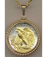 U.S. Walking Liberty half (reverse) (minted 1916 - 1947) coin pendant n... - $197.00