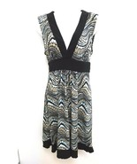 I.Z.Byer Ca Womens Sz Large Dress Dots V-Neck Empire Waist Sleeveless B294 - $16.99