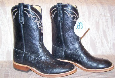 NEW ANDERSON BEAN BLACK FULL QUILL OSTRICH DRESS COWBOY BOOTS 9-1/2 D