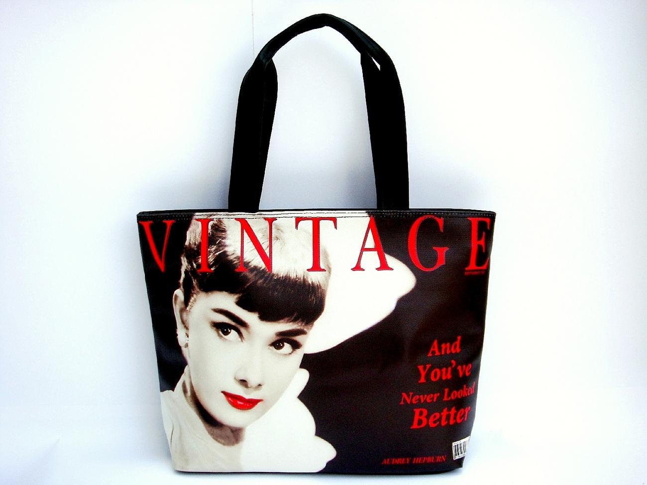 Audrey Hepburn Vintage Classic Wide Tote Shoulder Bag Purse