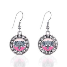 Peeking Elephant Circle Charm Earrings French Hook Clear Crystal Rhinest... - $9.80