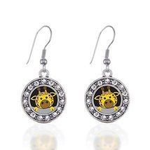 Peeking Giraffe Circle Charm Earrings French Hook Clear Crystal Rhinestones - $9.80