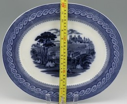 "Cauldon English Blue Transfer Ware Byzantium 15"" Platter c.1900 image 2"