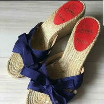 Christian Louboutin Authentic Blue Ribbon Wedge Sole Sandals Size 23.5cm Used - $349.95