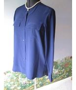 Vince Blue Long Sleeve Blouse Top Silk Shirt SZ 10 NWT $275 - $118.79