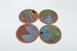 set wool coasters,coasters,rug coasters,coffee table accents,vintage coa... - $14.90
