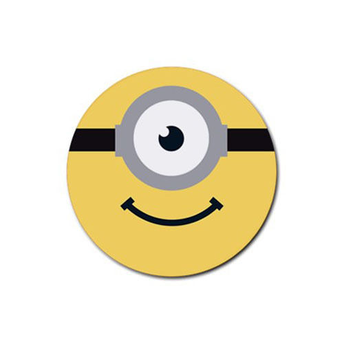 4 PACK Minion Face Banana Despicable Me Yellow Unique Design Gift Round Coaster