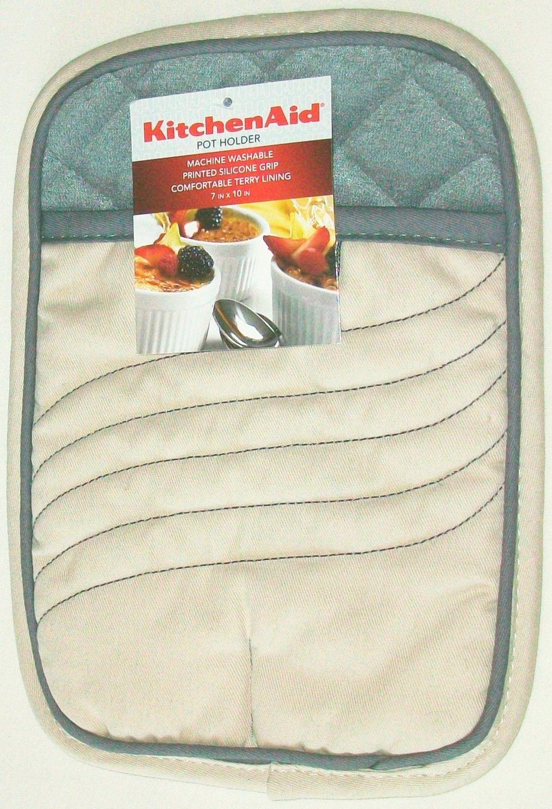 Kitchenaid 100 cotton sand beige 7 x10 printed silicone grip pot holder new oven mitts - Kitchenaid oven gloves ...