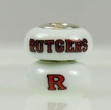 Fenton Milk Glass Collegiate Bead Rutgers University Sterling Silver Charm - $35.00