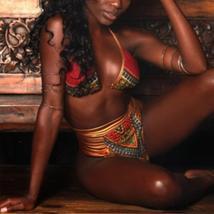 Women's Push Up Padded High Waist Ethnic Print Bikini Swimwear Set image 3