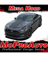 2015 Ford Mustang MEGA Wide Center Hood Racing Stripes 3M Vinyl Graphic ... - $179.99