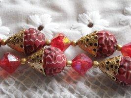Vintage Two Strand Necklace & Earrings Aurora Borealis Plastic Beads Rasberry image 4