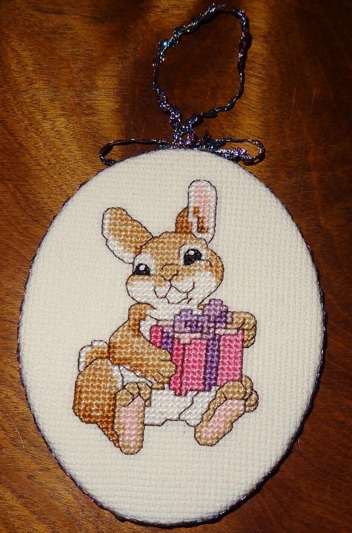 New Bunny Rabbit Christmas Ornament Present Finished Cross ...