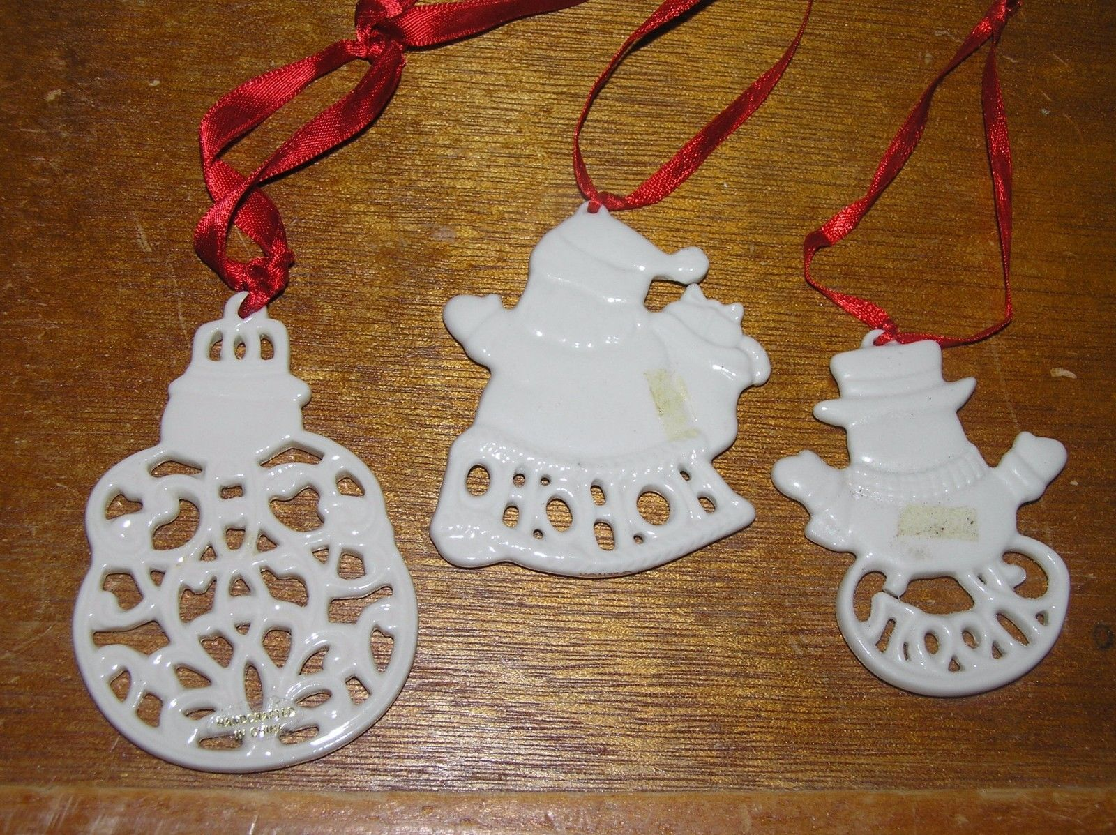 Vintage Lot of 3 Lenox Pierced Cream Porcelain SNOWMAN Santa Claus Christmas