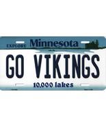 Vikings Minnesota State Background Metal License Plate Tag (Go Vikings) - $11.35