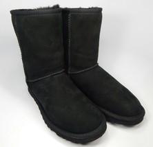 Ugg Australia Court Classique Peau D'Agneau Bottes Noires Taille 6 M (B) Ue 37