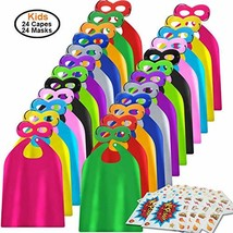 ADJOY Superhero Capes and Masks 24 Sets for Kids with Superhero Stickers Decorat