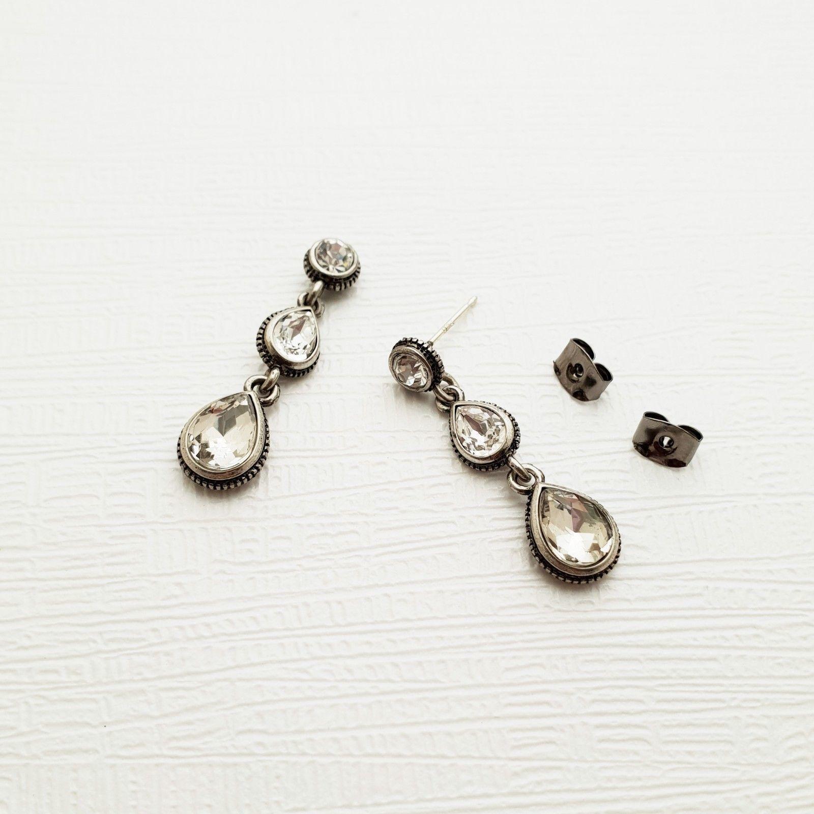 Tiered Round Water Drop Teardrop Shape Made With Swarovski Stone Dangle Earrings image 4
