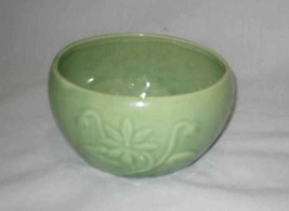 "Neat Vintage 2 1/2"" Green Pottery Bowl Raised Flowers - $57.87"
