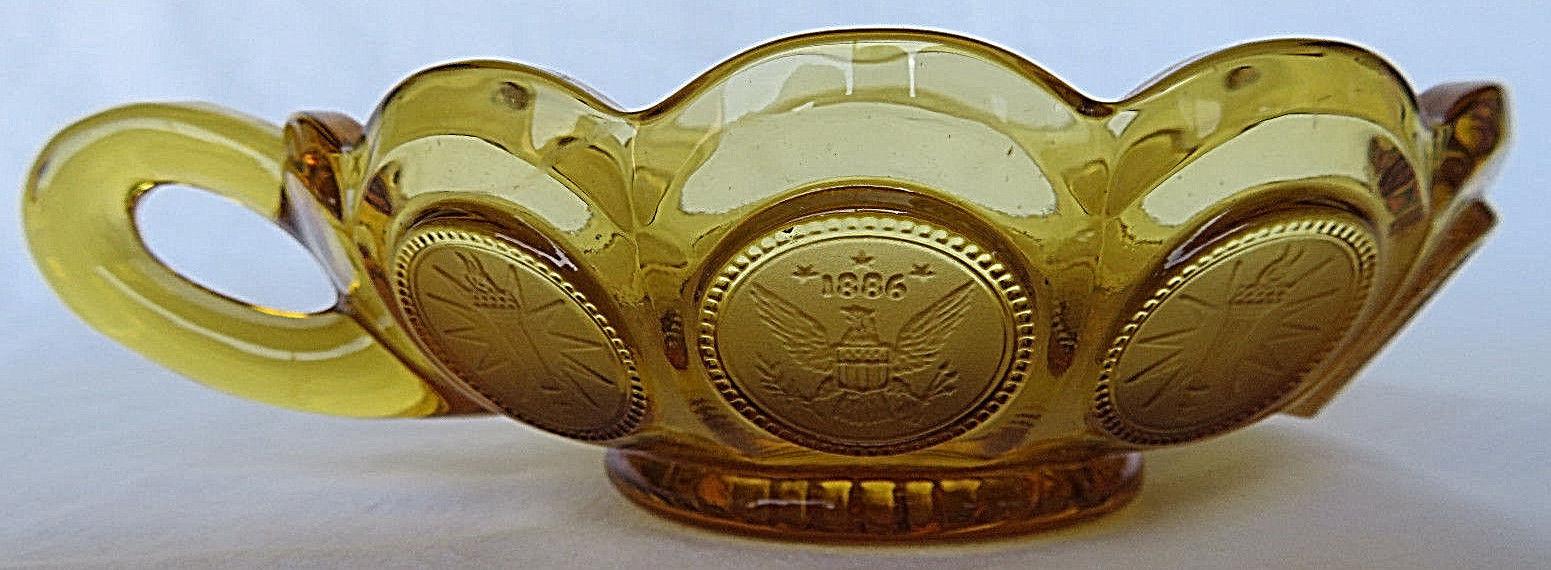 VINTAGE Brown Glass Bowl One Handle Modern Art Decorative 1886