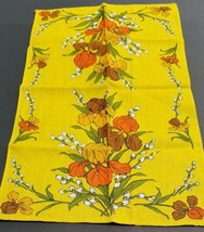 Vtg Linen Floral Kitchen Dish Tea TOWEL Table Runner Pussy Willow Iris I... - $30.40