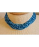 "15""VINTAGE ARTISAN 20 STRAND BRITE AQUA BLUE BEACH NECKLACE,GLASS SEED B... - $9.89"
