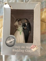"Wilton 1998 ONLY THE BEGINNING WEDDING COUPLE CAKE TOPPER 5"" in box - $19.79"