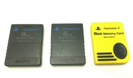 Lot of 3 PlayStation 2 Memory Cards 8MB Magic Gate - 2 Genuine OEM Sony ... - $21.26 CAD