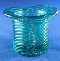 "Vintage Avon Green Glass Candle Holder 2 1/2"" Tall - $5.89"