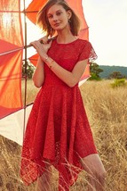 NWT ANTHROPOLOGIE PRIMA ASYMMETRIC HANKY HEM RED LACE DRESS by MAEVE 2, 10 - $84.99