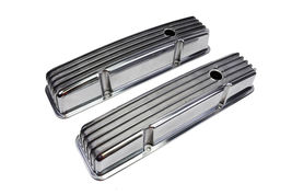 SBC Chevy 283 327 350 400 TALL FINNED POLISHED ALUMINUM VALVE COVERS 58-86 image 3