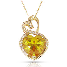 4.20 Carat Halo Citrine Double Heart Gemstone Pendant & Necklace14K Yell... - $150.73