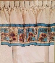 CHF Sunflower Postcard Ruffled Valance Kitchen Curtain - $16.00