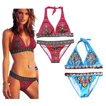 High Neck Boho Ethnic bikini Set Swimwear Swimsuit Bathing suit Push up women's