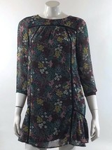 Ann Taylor LOFT Womens Dress Sz Small Petite Blue Pink Floral Sheer Over... - $21.03