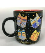 Laurel Burch Wine Things Multi-Color Cat Faces Black Coffee Mug Cup 12 o... - $27.93