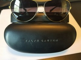 RALPH LAUREN RA 4117 3133T3 Aviator Sunglasses Gold & Black ~ Gray Polar... - $98.01