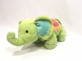 """Carter's Lime Green Circus Elephant Plush Rattle Baby Toy Lovey 9"""" Blue ... - $9.89"""