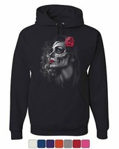 Day of the Dead Girl Hoodie Skull Face Dia de Los Muertos Roses Sweatshirt - $29.70+