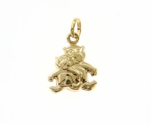 18K YELLOW GOLD MOTHER & SON BEAR TEDDY BEAR PENDANT CHARM 22 MM MADE IN ITALY