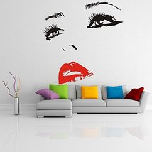 ( 63'' x 61'') Vinyl Wall Decal Womens Face with Hot Lips Silhouette / Sexy Teen - $97.56