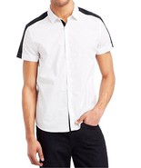 Kenneth Cole Reaction Mens White Colorblocked Black Button-Up Shirt - $27.99