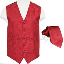 RED MEN'S XS - 6XL Paisley Tuxedo Suit Dress Vest Waistcoat & Neck tie W... - $20.77+