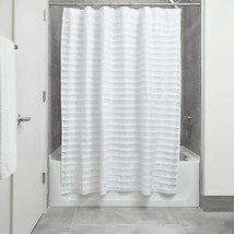 InterDesign Tuxedo Fabric Shower Curtain, 72 x 72, White Standard - $18.81