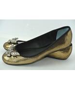 NEW Nina Womens Sz 8.5 M Gold & Black Rhinestone Butterfly Ballet Flats - $59.39