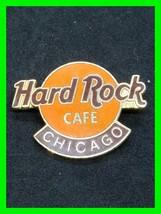Vintage Enamel Hard Rock Cafe Pin ~ Chicago Orange And Gold Tone - $24.24